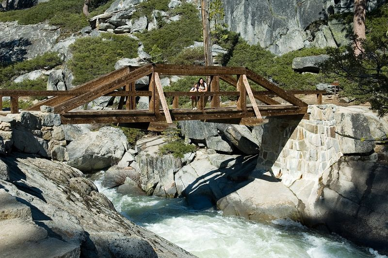 This is the bridge over the river that makes Yosemite Falls.  The trail keeps going for a long ways past where we were.  If you kept hiking, you'd get to Tuolemne Meadows and the many great landmarks there (Tenaya Lake, Cloud's Rest, Mount Hoffman, etc...).