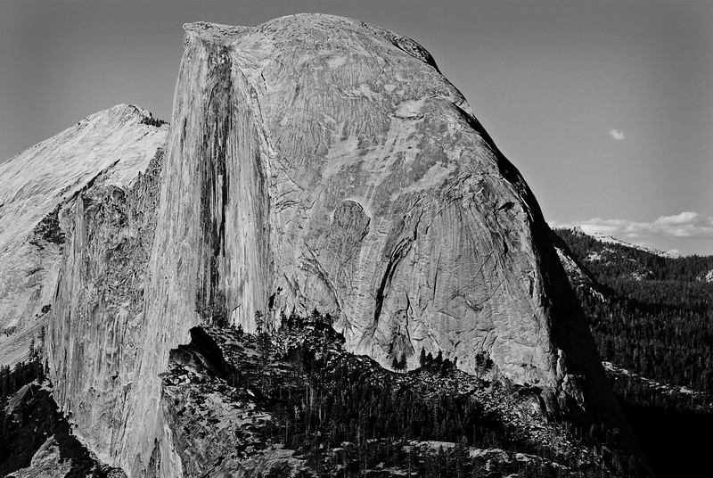 half dome black and white moody