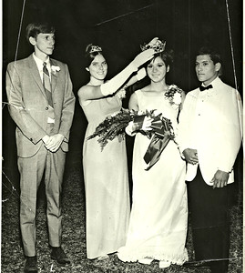 Len crowning the new Banning High School Homecoming Queen in Fall 1967,