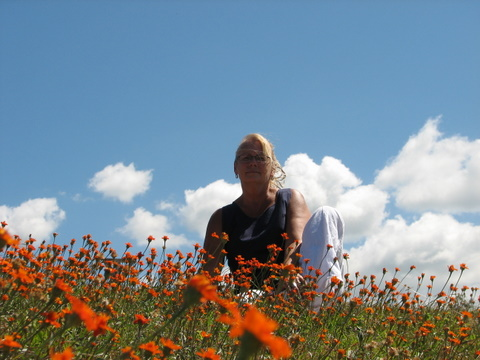 This was on top of a hill in Cuidad Colon. It was a field of orange flowers, so I sat in them.
