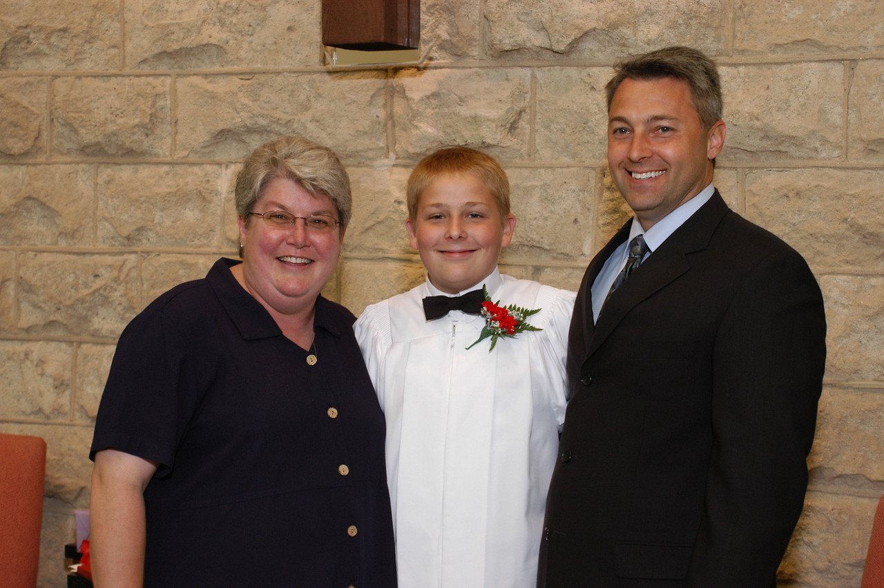 Zak and his God Parents.  From left to right:  Aunt Lisa, Zak, and Marty Pierce.