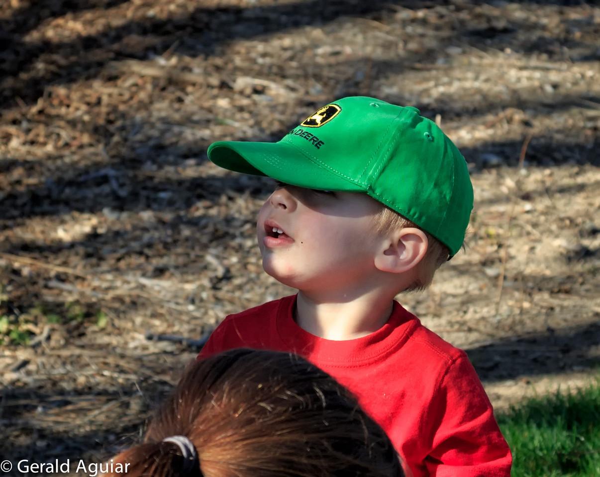 Zane wearing his new John Deere hat.