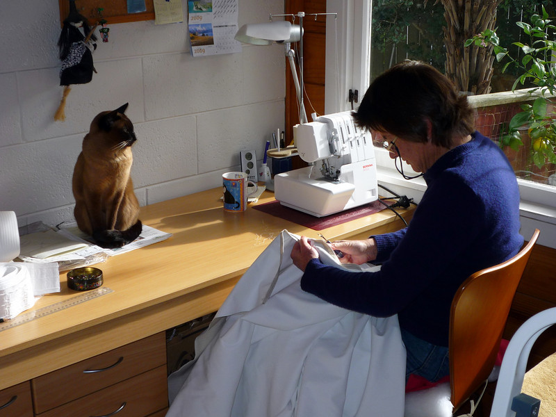 Helping Robyn with her sewing.