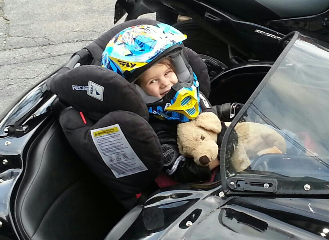 Zoe in the sidecar