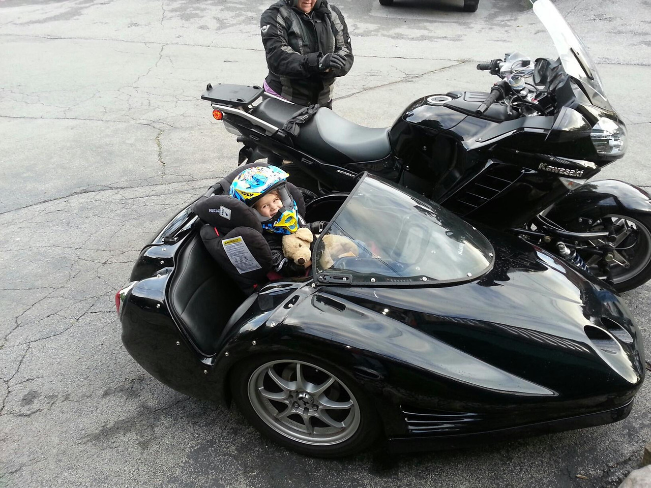 Zoe in the sidecar