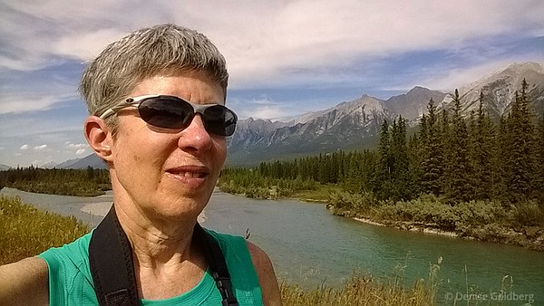 Denise along the Bow River in Canmore