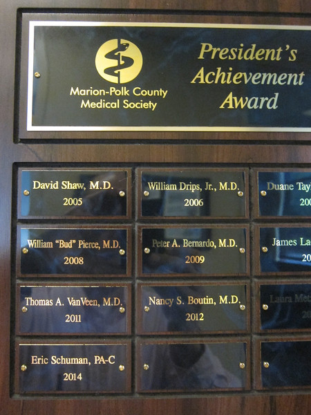 My award from the Marion-Polk County Medical Society, 2014