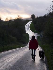 walking on a road
