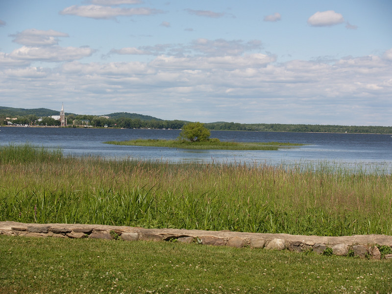 View from The Willows across Lake of Two Mountains to Oka