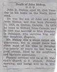 John Bishop funeral notice