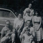 Irene Mae Reeve (née Thurston, née Cabana) and Joan Lillian Huff (née Thurston) with Russel Reeve (back), Mary Martindale Reeve, Gilbert Frederick Thurston holding Edith Marie Reeve, and David Gene Thurston, Sep 1960