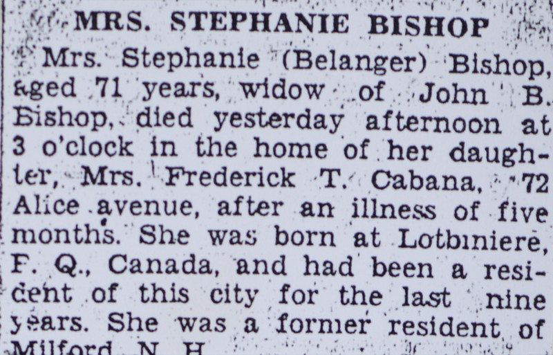 Stephanie B Bishop née Belanger death notice