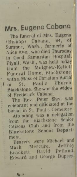 Eugenia Cabana (née Bishop) funeral notice