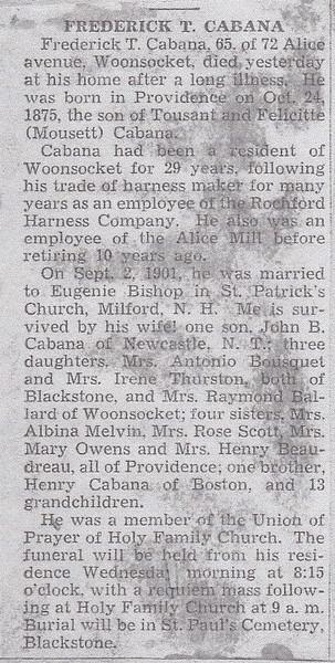 Frederick T Cabana death notice