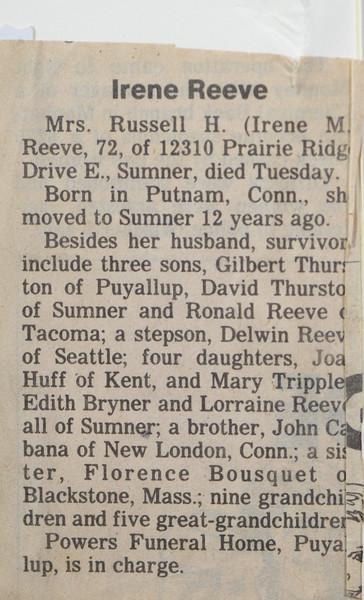 Irene Mae Reeve (née Thurston, née Cabana) death notice