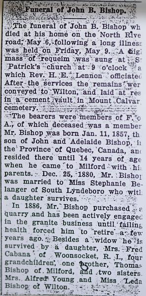 John B Bishop funeral notice