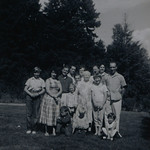 Clockwise Left to Right: Mary Martindale Reeve, Joan Lillian Huff (née Thurston), Odell Henderson Huff, Gilbert Frederick Thurston with wife Beverly Ann Monroe, Irene Mae Reeve (née Thurston, née Cabana), Eugenia Cabana, Russel Reeve, David Gene Thurston with wife Michelle L. Sahenin, Edith Marie Reeve, Patricia JoAnn Huff, Ronald Clay Reeve, Bill Odell Huff, and Lorraine Janet Reeve