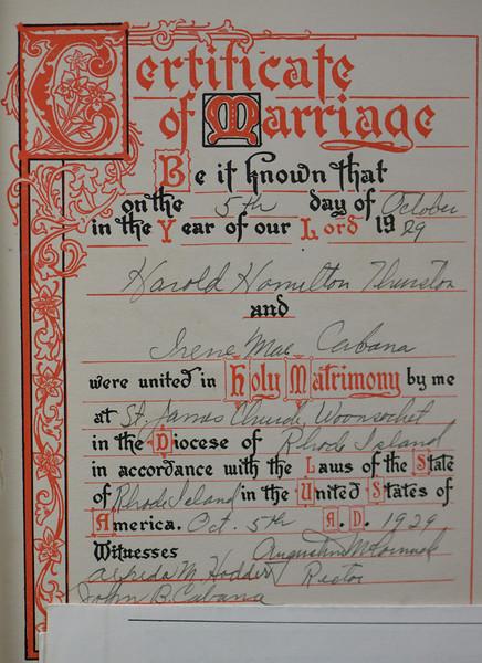 Marriage certificate of Harold Hamilton Thurston and Irene Mae Cabana