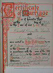 Marriage certificate of Harold Hamilton Thurston and Irene Mae Cabana