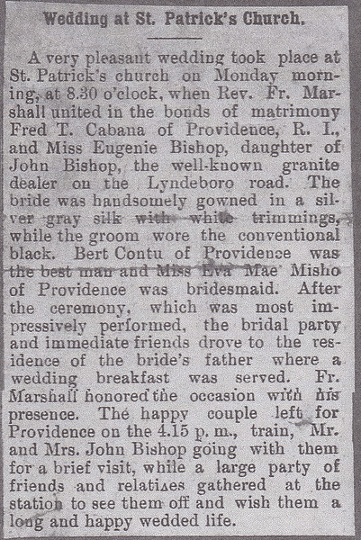 Frederick T Cabana and Eugenia Bishop marriage notice