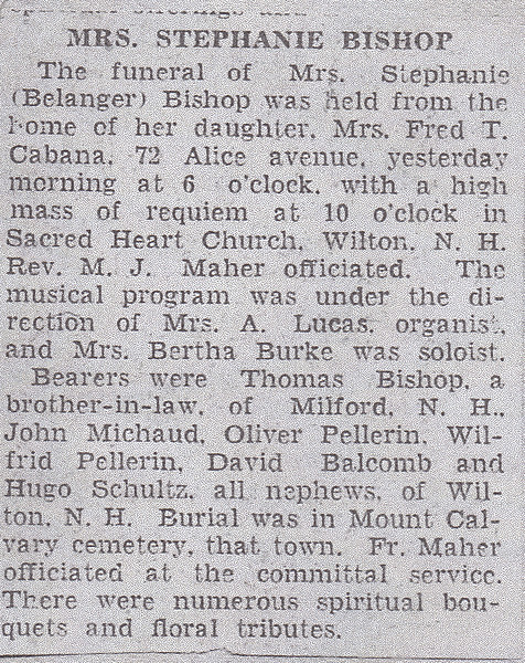 Stephanie Bishop née Belanger death notice