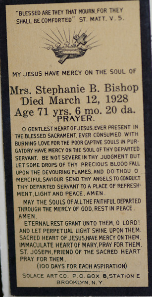 Stephanie B Bishop née Belanger prayer card