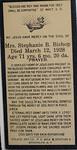 Stephanie B Bishop née Belanger prayer card