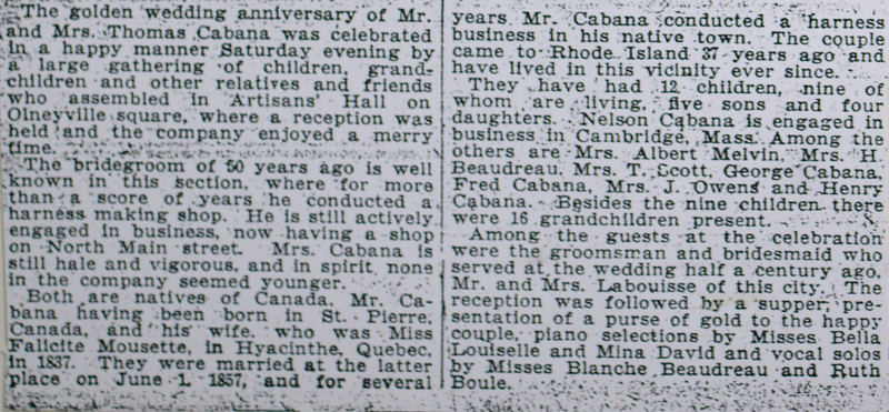 Thomas Cabana and Falicite Mousette anniversary notice