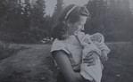 Joan Lillian Huff (née Thurston) at 19 with Patricia JoAnn Huff at 1 week old