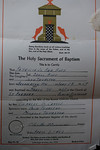 Certificate of Baptism for Patricia JoAnn Huff