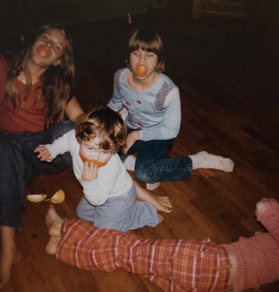Jeremy, age 2 and a half, with Kim Wilson, 8th grade,  and Tracy Pearce (6th grade, daughter of Eldon Pearce). Christmas, 1977.