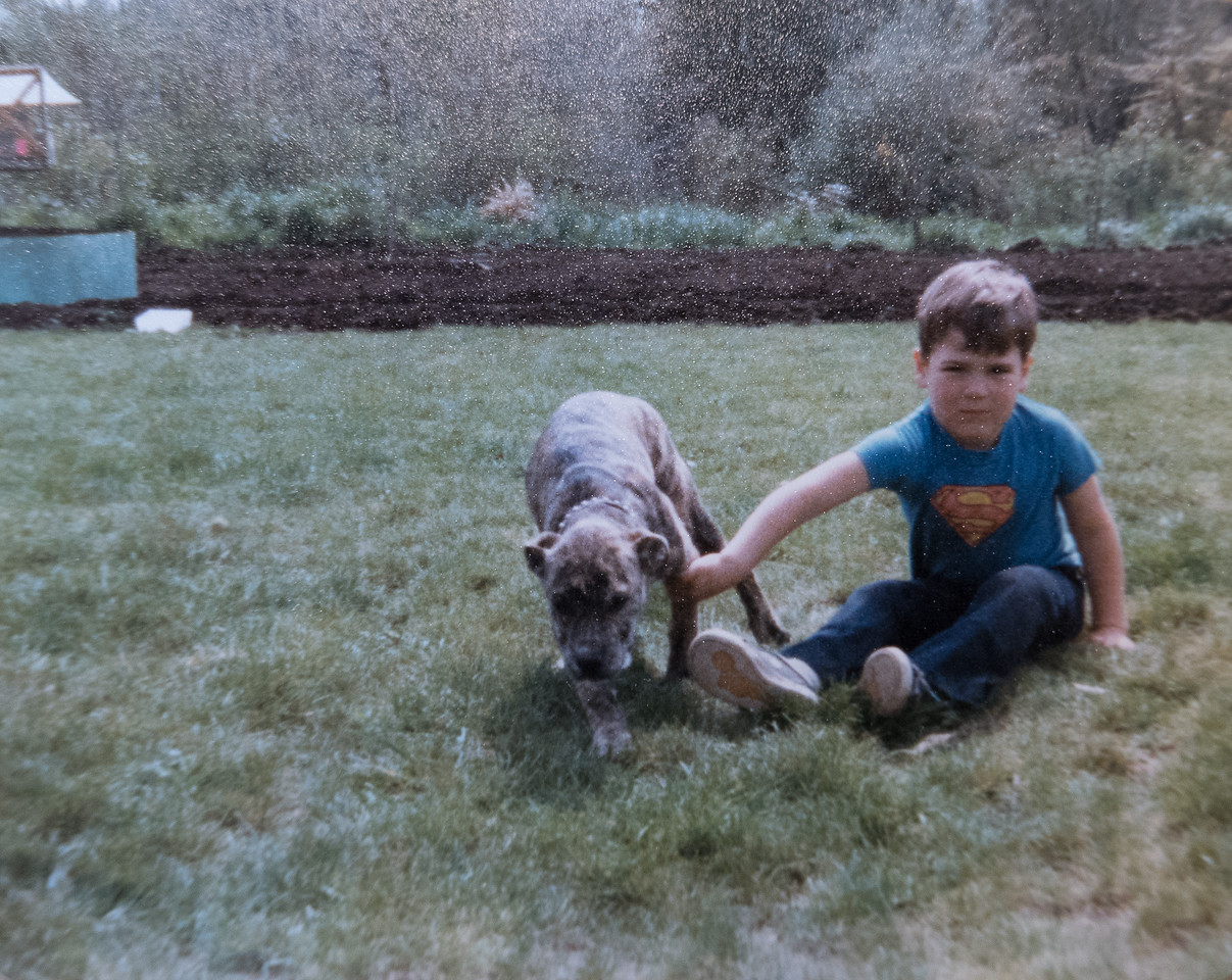 Jeremy, 4 and a half years old, with Samson, April 1980.
