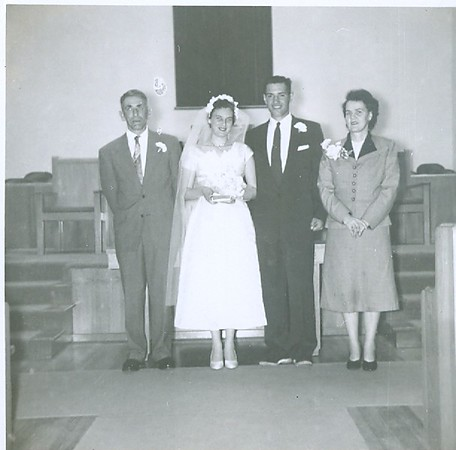 James Percy Pearce, Cleabelle Pearce (about to become Cleabelle Wilson), Robert Wilson, and Crystal Pearce. Wedding day, Lebanon, Oregon.
