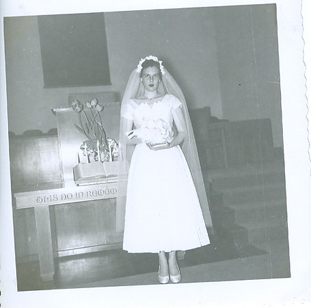 Cleabelle Pearce (about to become Cleabelle Wilson, later Dobbins). Wedding day, Lebanon, Oregon.