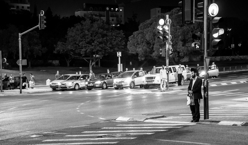 A siren blared all over the country at 8 pm on Sunday, April 7, indicating the start of Holocaust Remembrance Day. Everyone in the country stopped what they were doing. Here motorists got out of their cars, joined pedestrians at an otherwise busy intersection in Jerusalem, and stood at attention. Moving.
