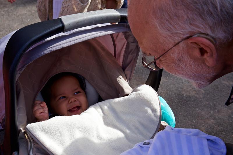 Masha has a big smile for his grandfather.