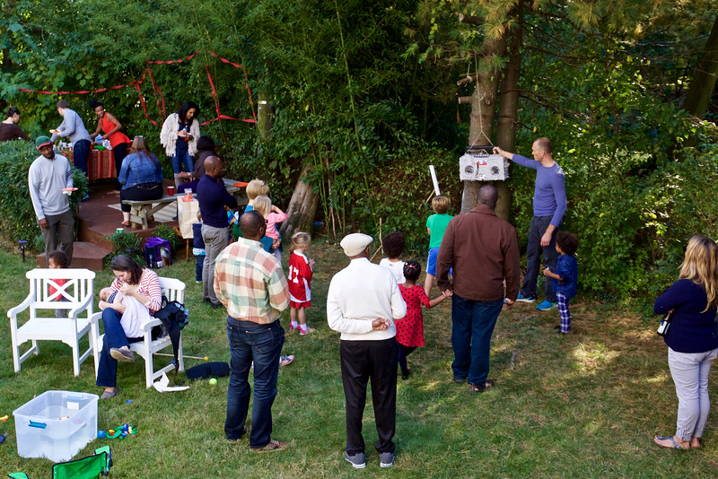 The beautiful fall day was perfect for a garden  party.