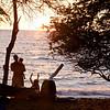 Jason with Masha and Anahita on the beach.