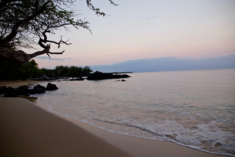 The first morning on the beach at Waialea, before the waves and the people arrived.