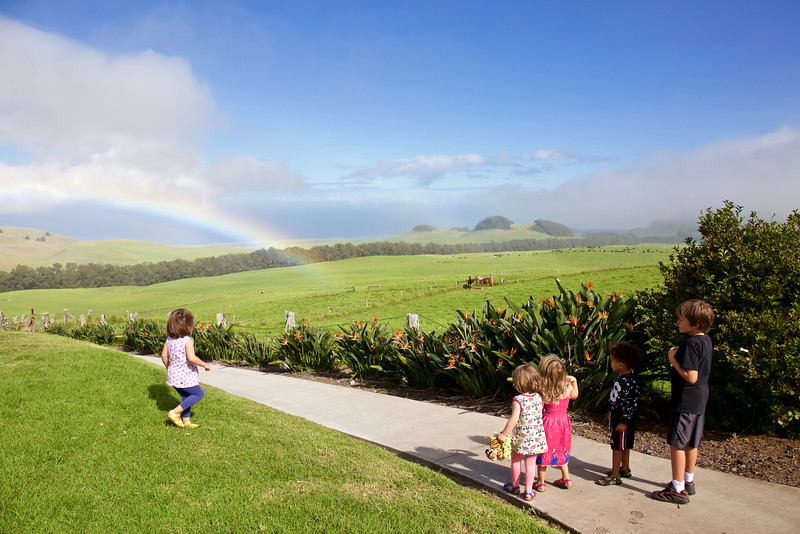 Rainbow at Kahua Ranch--and 5 grandchildren.