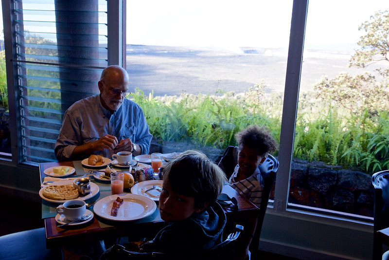 Breakfast by the volcano, with Steve, Taio and Baye. Grandparents are so fortunate to have times like this with the younger generation.