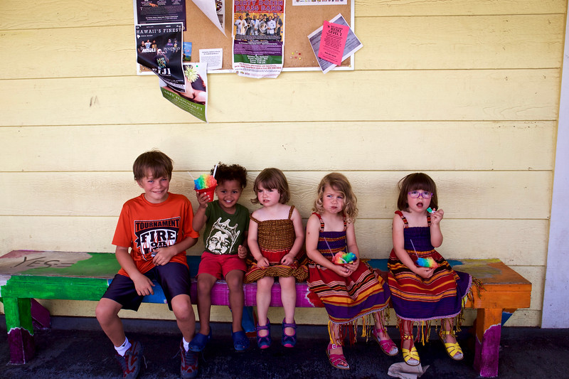 "One of our first outings was to Kawaihae to get shave-ice.  The kids  ordered ""Rainbow"" flavor.<br /> From left:  Taio (9); Baye (3); Makeda (3); Clio (3) and Anahita (3)."