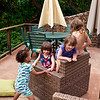 The cousins had a marvelous time, on the beach and here, on the lanai of the beach house, with or without clothes.