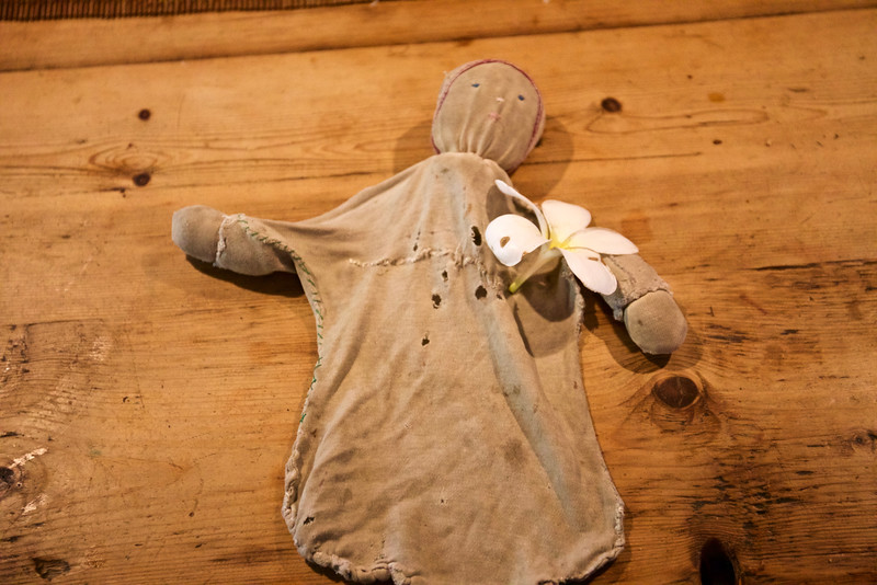 This is Anahita's dolly, somewhat the worse for wear but much treasured.  We found her in a small shop in Guarda, Switzerland, and she has traveled faithfully across the world with Anahita.