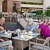 Breakfast the first morning . . . with lots of coffee or tea.<br /> Nathalie, Jason, Steve with Anahita, Clio, Baye.
