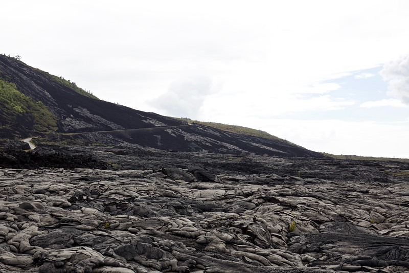 The Chain of Craters Road has been crossed and covered by lava repeatedly.  The last time was in 2003.