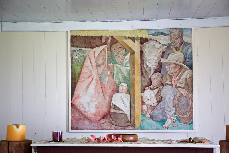 The fresco in the chapel was painted by Jean Charlot.  The figures were modeled after people on the ranch, including Ronald von Holt (in cowboy hat), who bought the ranch with Atherton Richards, Monty's uncle, in 1928. The baby is modeled after Joan Greenwell, the Virgin Mary is modeled after Ida Lincoln, and the boy by the calf is her son Butch, who was in Steve's class in elementary school.