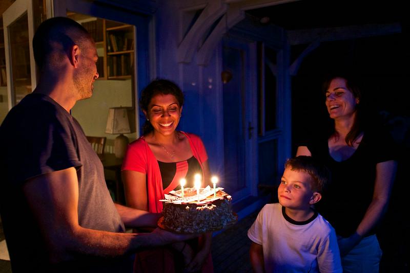 We all helped Sara celebrate her birthday ( and greatly enjoyed her chocolate-raspberry birthday cake).