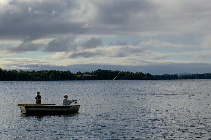 Taio and Steve casting in Lake Champlain.  This was the first time Taio had been fishing; Steve had often fished with his father.