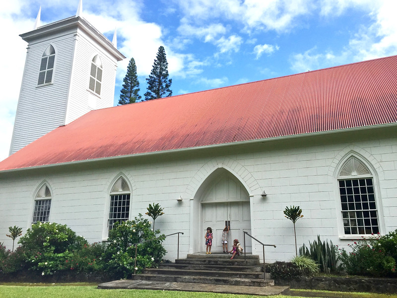 The triplets visit Kalahikiola Congregational Church, where Justin and Nathalie were married in 2003.